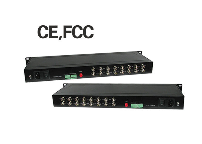 FC Port 60km Fiber Media Converter 16 Channel Video 1 Channel RS485 Return Data